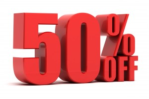 50 percent off promotion